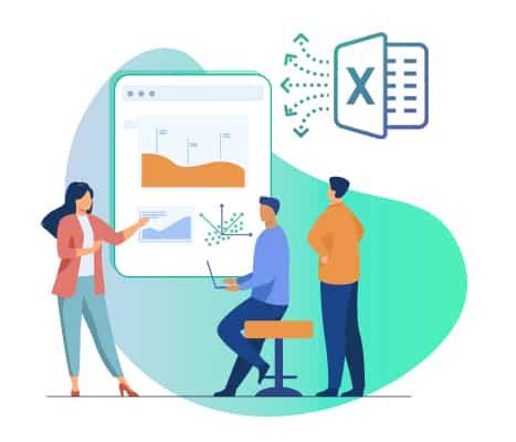 Una ilustración de un equipo que colabora con NumXL pro en Excel