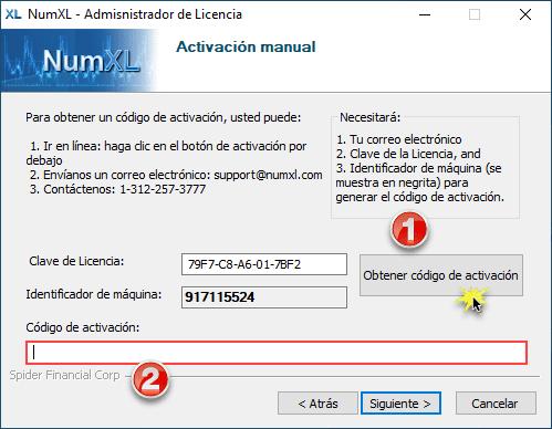 Administrador de licencias NumXL - Activación manual